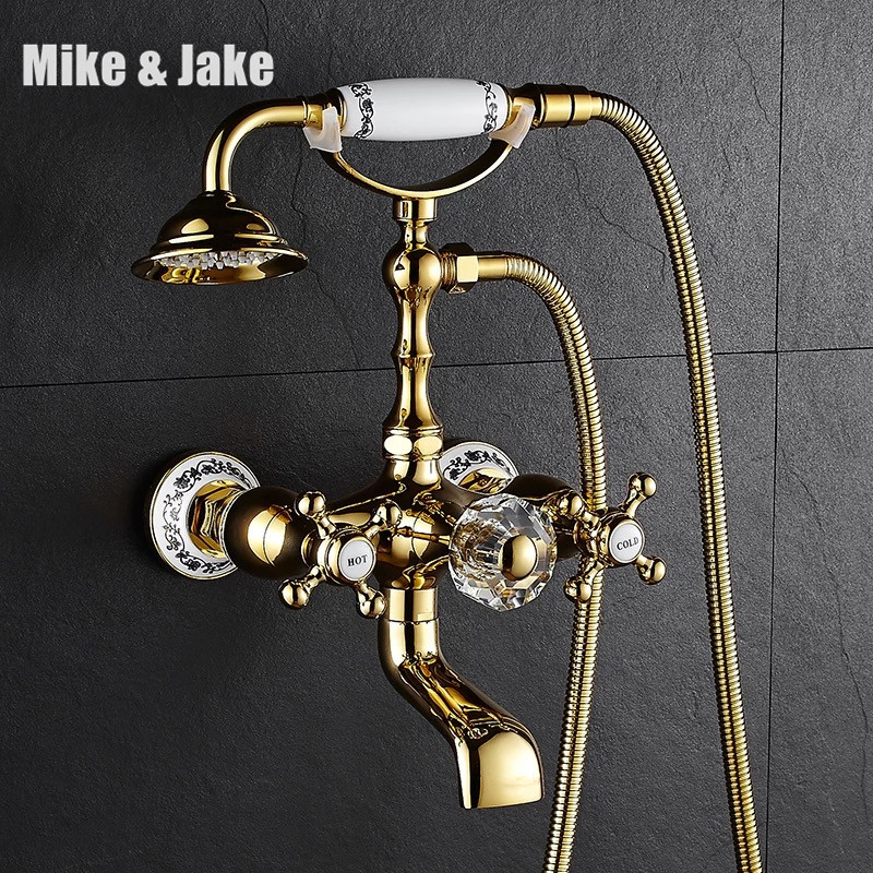 Chrome bath shower faucet wall shower mixer bathroom telephone bath faucet with hand shower bathroom mixer tap with hand shower free shipping polished chrome finish new wall mounted waterfall bathroom bathtub handheld shower tap mixer faucet yt 5333