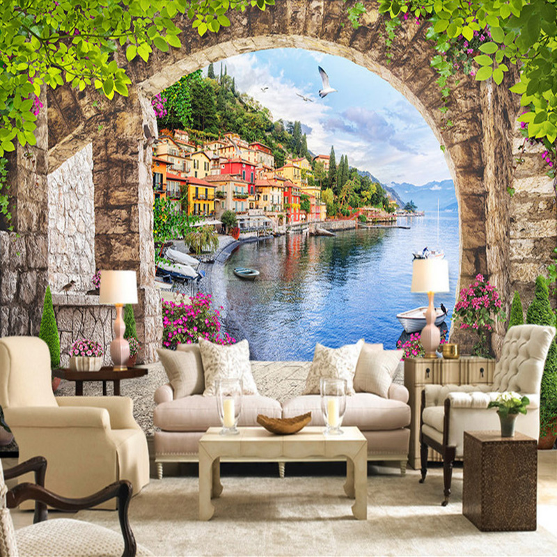European Style 3D Stereoscopic Arch Small Town Street View Living Room TV Background Photo Wallpaper Cafe Restaurant Decor Mural