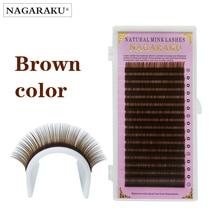 NAGARAKU 16 rows, light brown color high-quality mink eyelash extension,fake eyelashes