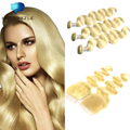 4PCS #613 Body Wave Blonde Weave Hair Bundles with Lace Closures 10A Honey Blonde Brazilian Virgin Hair with Closure 12-26 Stock