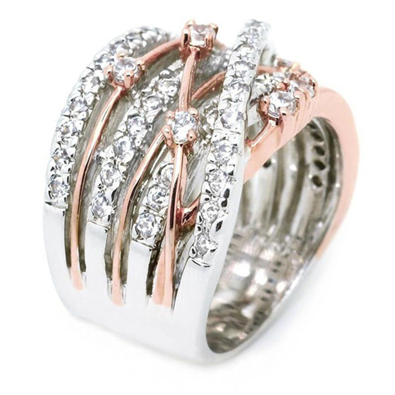 ROMAD Crystal Multilayer Vintage Rings New Antique Mosaic AAA Zircon Silver Color Cross X Ring Women Finger Luxury Bijoux R4