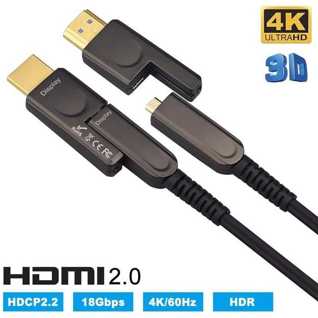 HDMI & Micro HDMI câble Fiber optique amovible HDMI 2.0 4K 60Hz 10m 20m 30m 50m 100m pour HDR TV LCD projecteur ordinateur portable PS4