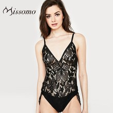 Missomo Women Transparent Sexy LACE TEDDY Butterfly Pattern Lace Triangle Tassel Streamer Adjustable Straps Underwear