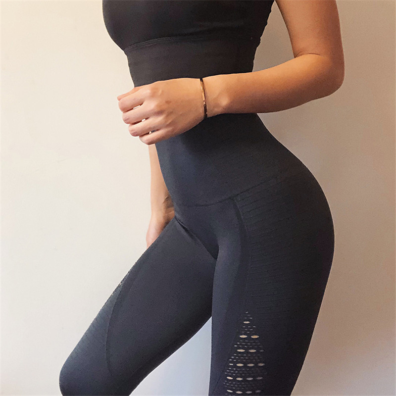 все цены на New Stretchy Yoga Pants Women Hollow Out Energy Seamless Tummy Control Gym Tights High Waist Sport Legging Fitness Running Pants онлайн