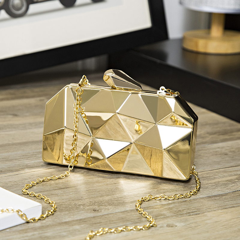 Chain Crossbody bag Geometric Women Wallets Phone Pocket Shoulder bag metal geometry Long Wallet Lady Bag Short Coin Purse in Top Handle Bags from Luggage Bags