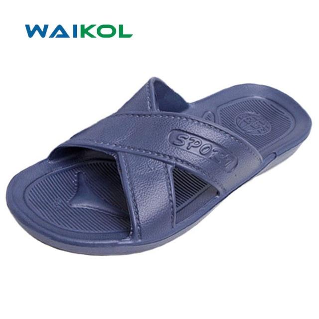 04c4f5a6ce6 Waikol Summer Men s Non-slip Bathroom Slippers Men Flats Sandals Male Home Beach  Slippers Hot Sale Free Shipping