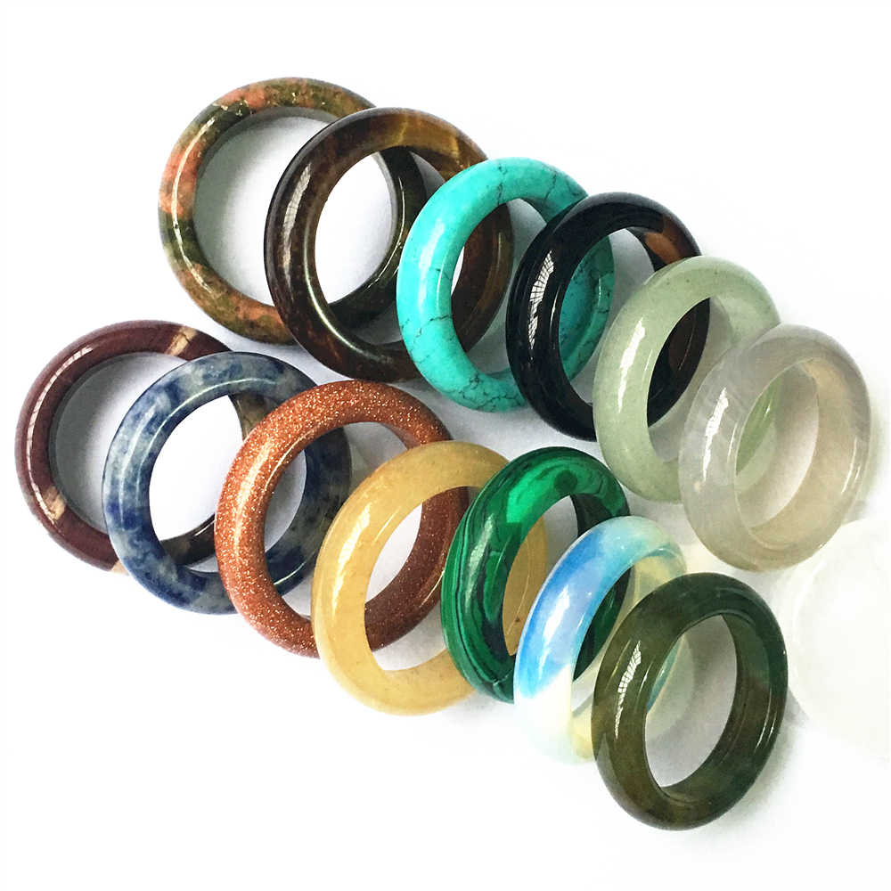 Новый высококачественный оникс Агаты сердолик, опал пески унакит модный натуральный камень палец кольца для мужчин и женщин 10 шт 6 мм 17 #18 #20 #