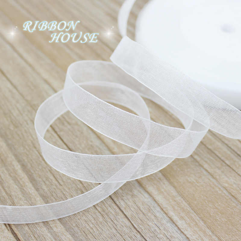 (50 yards/roll) 12/15/20/25/40/50mm Organza ribbons wholesale white gift wrapping decoration Christmas ribbons