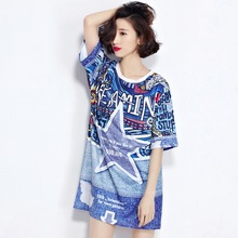 Plus Size Women's Casual Loose Long T-Shirts Spring Summer Printing Short Sleeve Shirts for Women Oversize L298