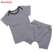 Seartist Girl Boy Clothing Set Newborn Shorts+T Shirt  Baby Bebes Striped Clothes 2019 New 35