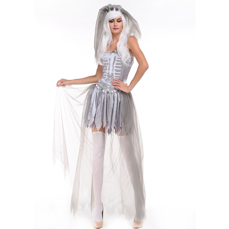 Look Ghastly In This Three piece Full Layered Tulle Bride Of Doom Costume Halloween Party Scary Costumes Ghost Costume L15266