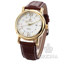 ORKINA Gold Stainless Steel Date Brown Black Leather White Black Dial Men S Quartz Watch