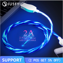 USB Cable Micro Flowing LED Glow Charging Data Sync Mobile Phone Cables For iPhone Type-C Android Samsung S7 Led Wire