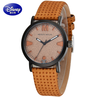 Original Disney Children Pretty Mickey Mouse Cartoon Lovely Watch Best Fashion Casual Simple Quartz Round Leather
