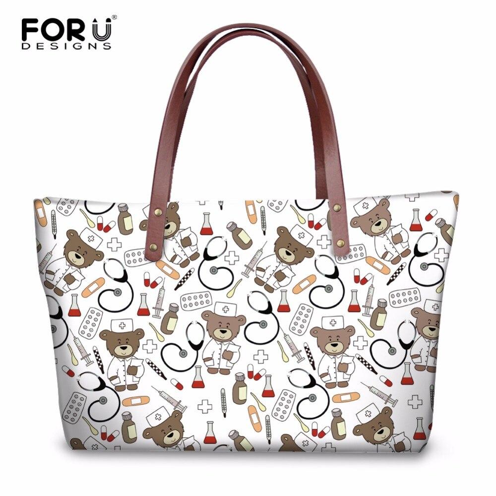 FORUDESIGNS sac à main mignon infirmière ours imprime femmes de luxe fourre-tout sacs à bandoulière sacs à main dames mode sac à bandoulière Bolsa Feminina