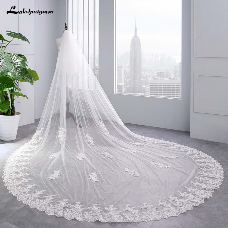 Gorgeous 3 Meters White/Ivory Lace Mantilla Cathedral Wedding Veil Bridal Veil Long Comb Wedding Accessories