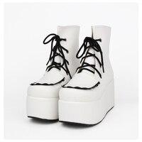 Модные женские туфли кожаные ботинки на платформе женская обувь в стиле панк осенние кожаные ботильоны белые босоножки Толстая подошва бот