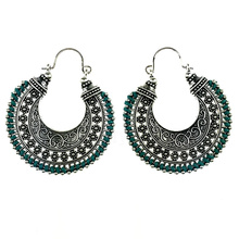 Tribal Antique Silver Color Hand Made String Braided Hollow Hoop Earrings Jewelry For Women