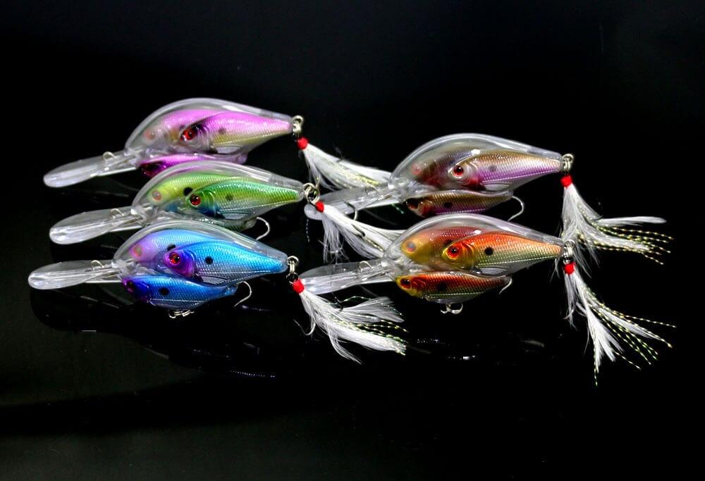5 pièces 9.7 cm/17.1g 3D yeux leurre de pêche appâts de basse dur méné manivelle appât nagbait plume aigus crochet s'attaquer eau salée eau douce