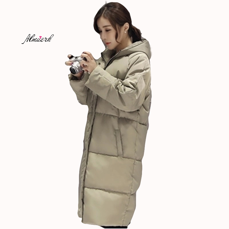 Women's winter jacket 2018 female large size medium long hooded temperament Slim solid color parkas down cotton padded coat f102 women s hooded cotton padded jacket winter medium long cotton coat plus size down jacket female slim ladies jackets coats wt0048