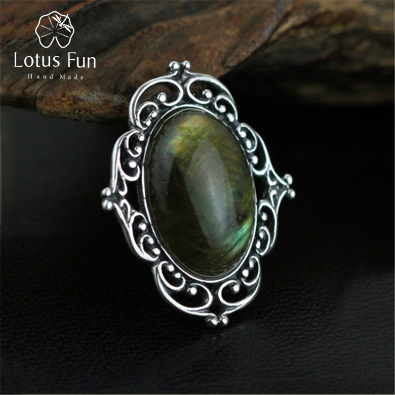 Lotus Fun 925 Sterling Silver Pin Brooches for Women Men Antique Thai Silver Oval Labradorite Victorian Collar Lapel Pin Jewelry ethnic antique silver color leaf brooches pin