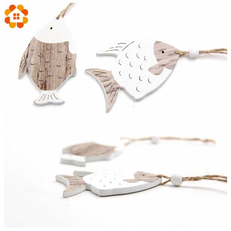 DIYHouse® 4PCS//Lot Wooden Fish Rustic Vintage Wooden Pendants Ornaments For Home