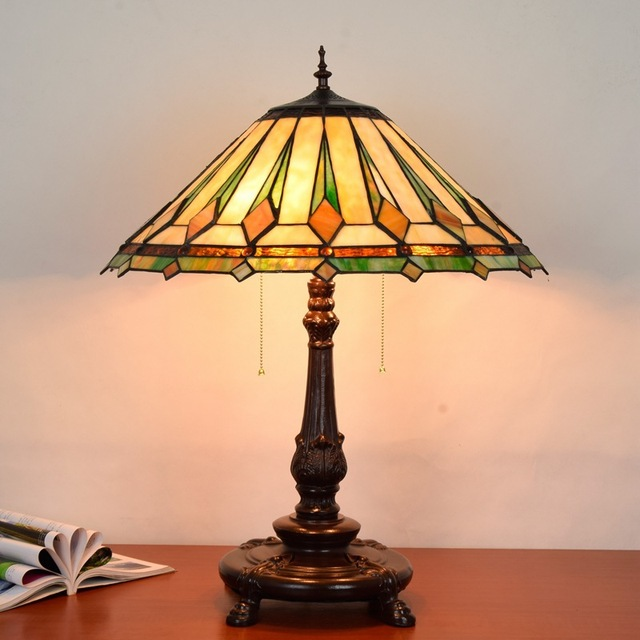 Tiffany vitrail lampe de table salon salle à manger chambre grande lampe de  table style européen bar lampe en verre coloré