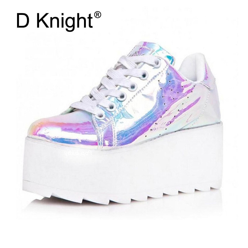 D Knight Brand Designer Wedegs Shoes Women Fashion Thick High Heel Patform Pumps 2018 New Spring Autumn Casual High-heeled Shoes women s genuine leather patchwork lace up pumps brand designer thick high heel spring autumn high quality punk shoes for women