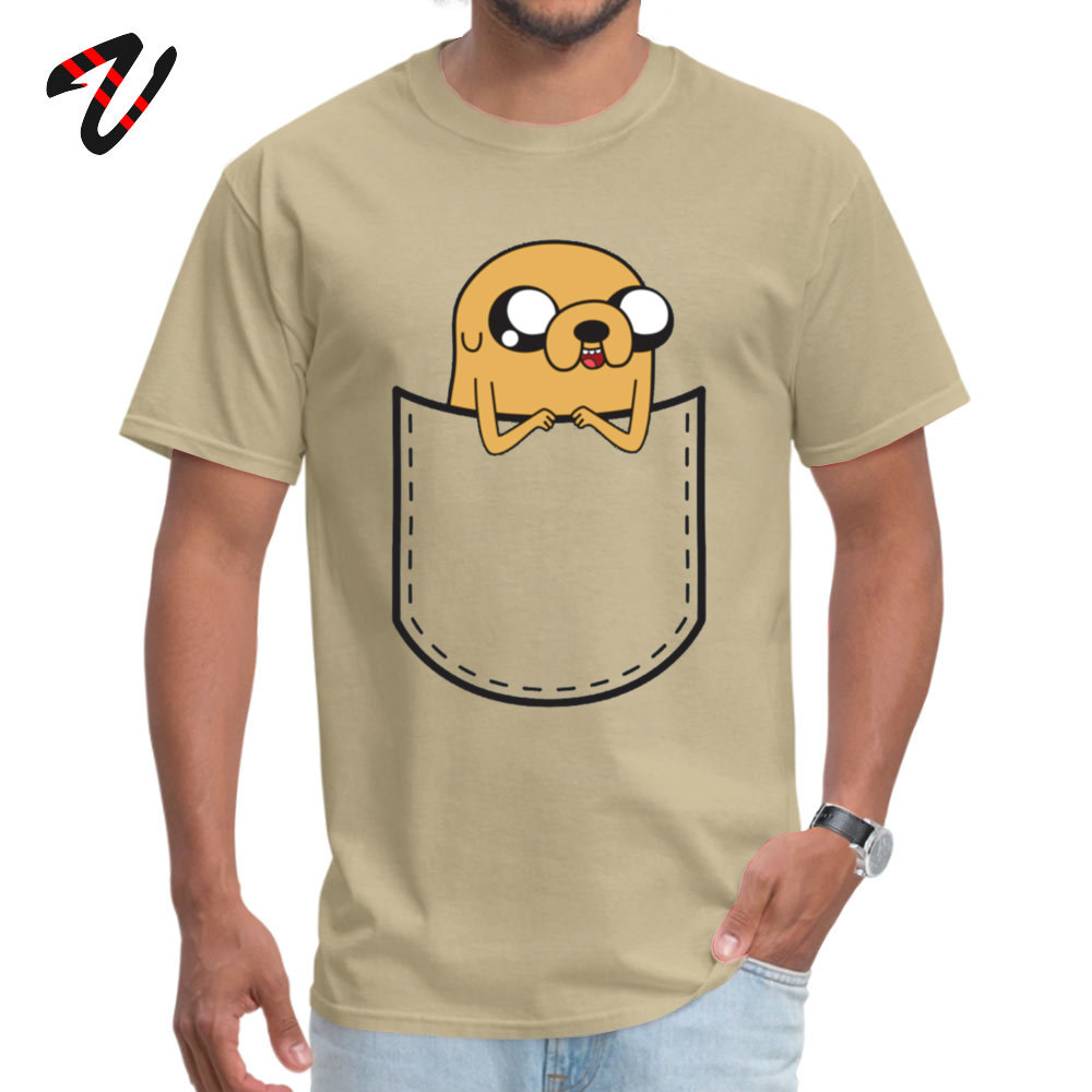 Adventure Time Pocket Jake Retro Men Top T-shirts O Neck Short Sleeve 100% Cotton Tops Shirts Normal Top T-shirts Adventure Time Pocket Jake 963 beige