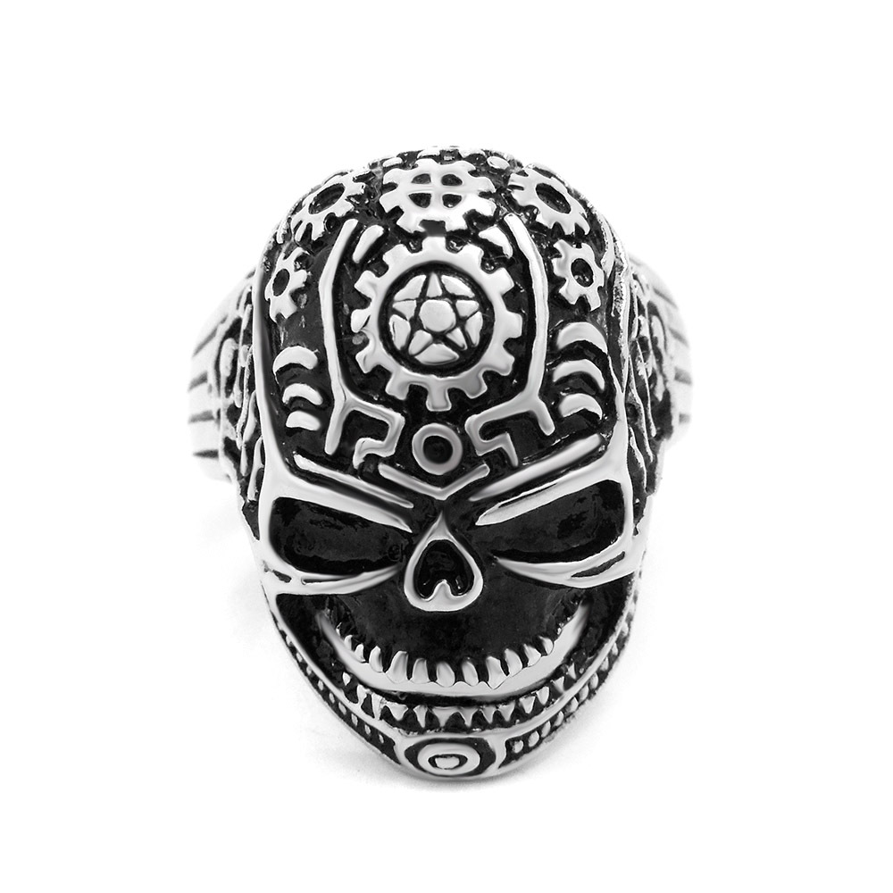 Men's New Punk Gothic Style Skull Rings Fashion Male Vintage Ring High Quality Stainless Steel Men Jewelry Gift