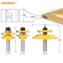 DIY Woodworking Tools 3 Bit Raised Panel Cabinet Door Router Bit Set- Bevel- 1/2″ Shank