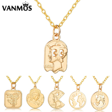 Simple Fashion Christian Carved Coin Pendant Necklace Heart/ Rose/ Face Pattern Neck Collar Statement Clavicle Chain Jewelry