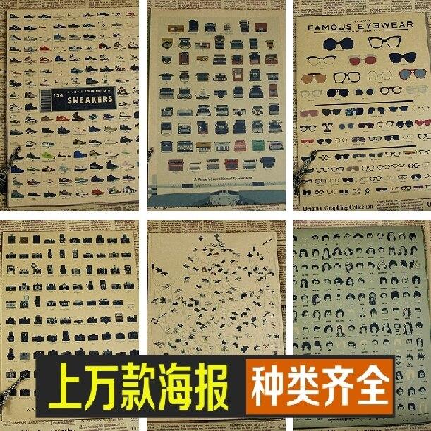 Machine à écrire coiffure à talons hauts marque lunettes audio appareils histoire/papier kraft/affiche de barre/affiche rétro/peinture décorative