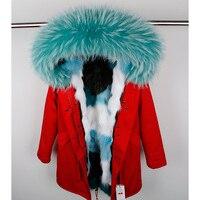 2018 женские с длинным капюшоном Лисий Мех Лайнер Куртка Пальто модная зимняя одежда с воротником из меха енота Синий Серый Фиолетовый высоко