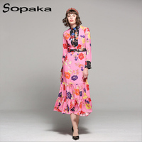 2017 Autumn Newest High Quality Pink Floral Print Stand Collar Full Sleeve Empire Boho Dress Runway