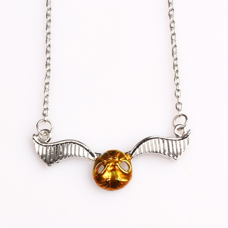 Hot Movie HP Quidditch Golden Snitch Necklaces Hogwarts Magic Academy Gold Metal Pendants Women Men Jewelry Accessories