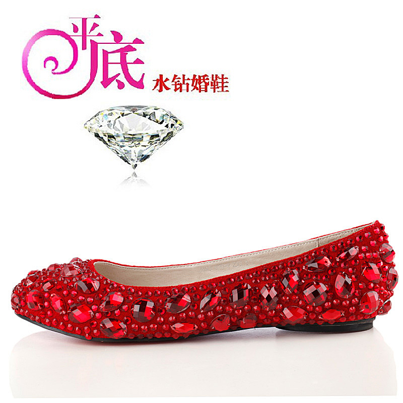 8dfe5031000 The Bridal Flats Rhinestone Wedding Shoes  White Beaded Flat White  Red  Color