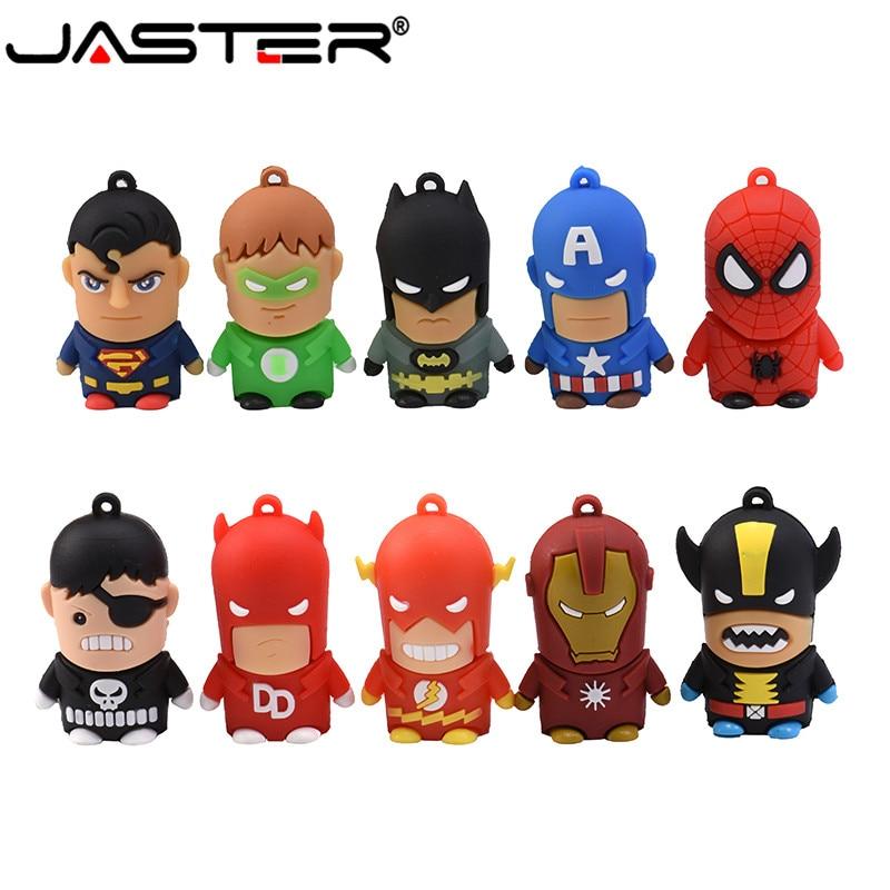 JASTER USB 2.0 New Cartoon Cute Superman Batman Flash Drive Spiderman Memory Stick Usb Pen Drive 4GB 8GB 16GB 32GB 64GB Gift