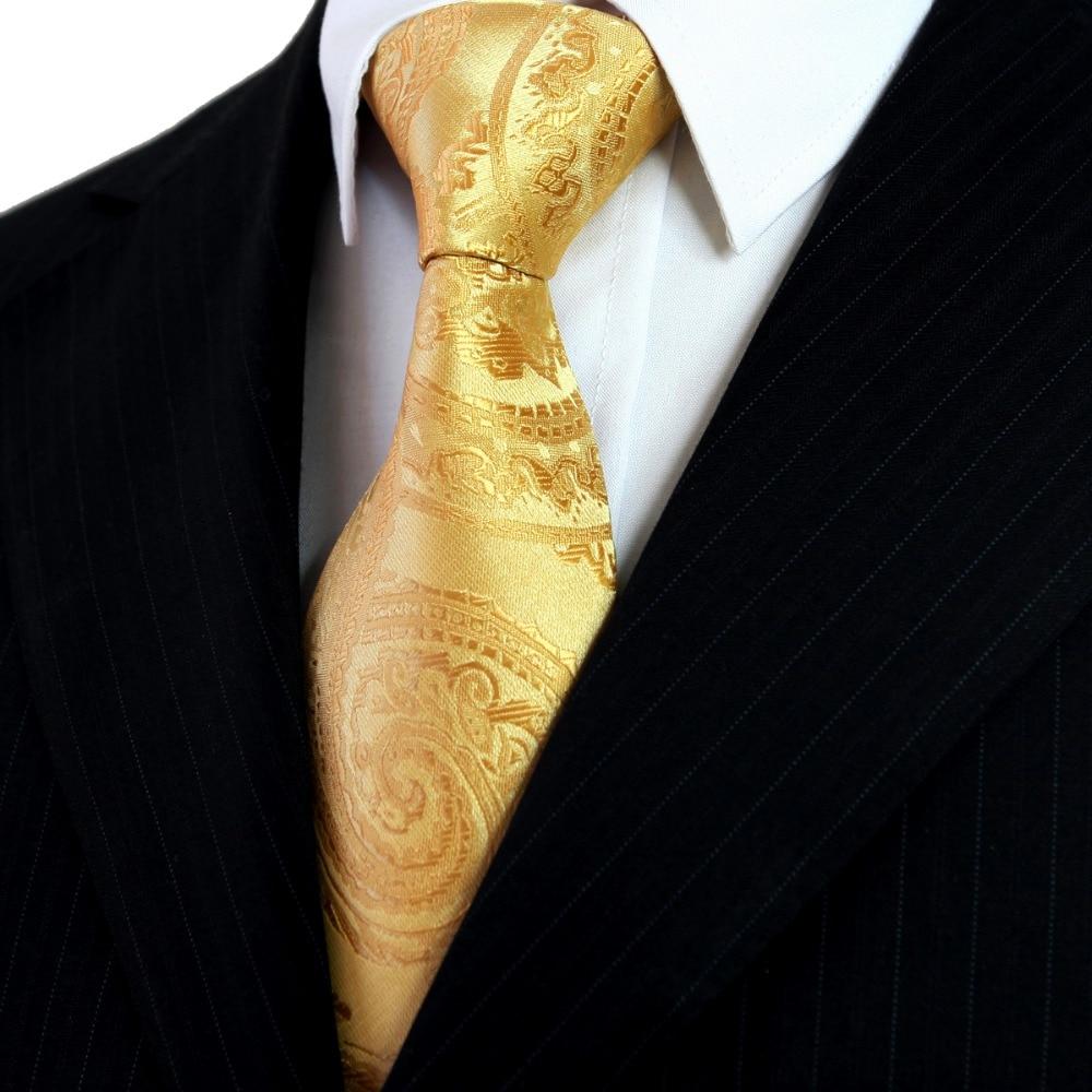 Doprava zdarma Paisley Jednobarevné Zlaté Žluté Pánské Kravaty Kravaty Hanky 100% Hedvábné Žakárové Tkané Neformální Obchodní Svatební oblek Dárek