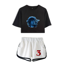 LUCKYFRIDAYF Fashion New Stranger things 3 Gril Crop Top Two Pieces Short Tshirt and Pants Casual Pleasantly K-pop Set