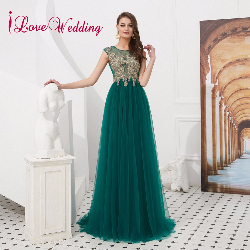 iLoveWedding 2019 Lace Applique Green A Line Evening Dress Sleeveless Formal Long Evening Gown with Jacket Real Photo