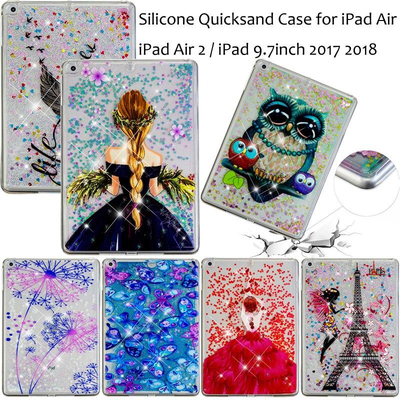 "Funda For Apple iPad 5 6 8/iPad 9.7"" 2017 2018 Air 1 2 Cartoon Glitter Liquidsand Quicksand Case 5th 6th Generation Cover Coque"