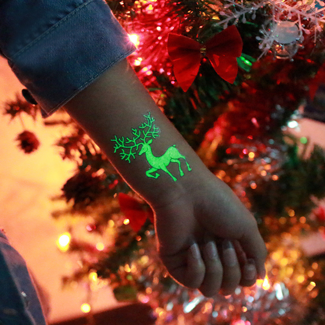 1 pz Decorazione Del Partito Luminoso Autoadesivi Provvisori Del Tatuaggio Di Na