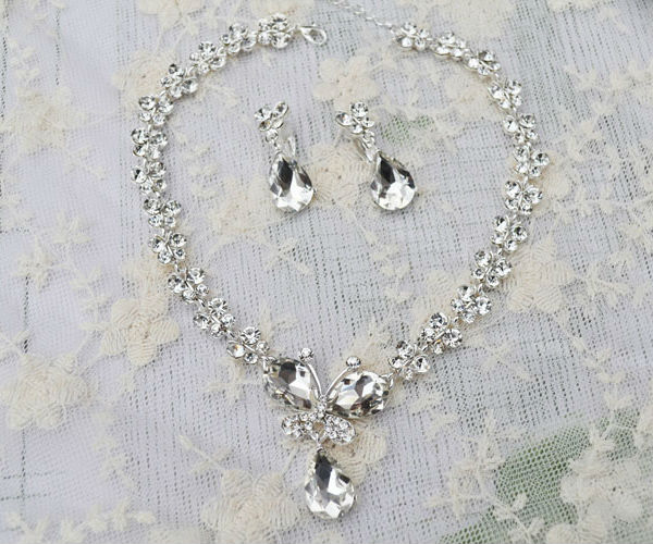 Rhinestone Crystal Necklaces+Earring Stick Bride Jewelry Sets for Bridal Wedding (3)