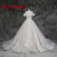 Vestido de novia de encaje de lujo con hombros descubiertos, manga corta, personalizado de fábrica