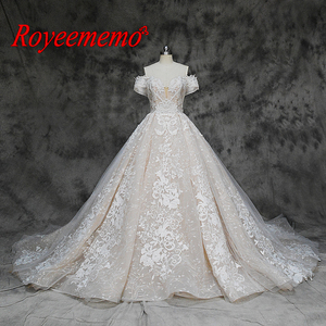 Image 1 - new luxury lace design wedding dress off the shoulder short sleeve wedding gown factory custom made wholesale price bridal dress