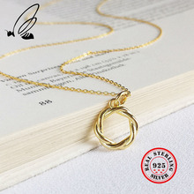 Golden Garland Pendant Necklace 925 Sterling Silver Gold ChainTemperament Intertwined Trend Simple Female Girl Jewelry