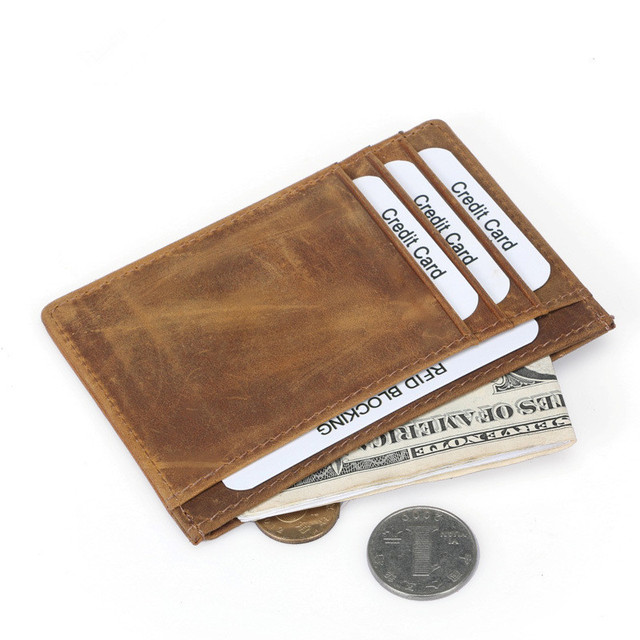 c15e1d8295bb1 Vintage Front Pocket Credit Card Wallet Men Genuine Leather Mini Credit  Card Holder Case RFID Blocking