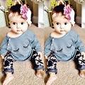 0-24 M Bebê Recém-nascido Do Bebê Roupas Das Meninas Bonito Algodão Cílios Manga Longa T-Shirt Calças 2 pcs Roupas Bebes crianças Conjunto de Roupas