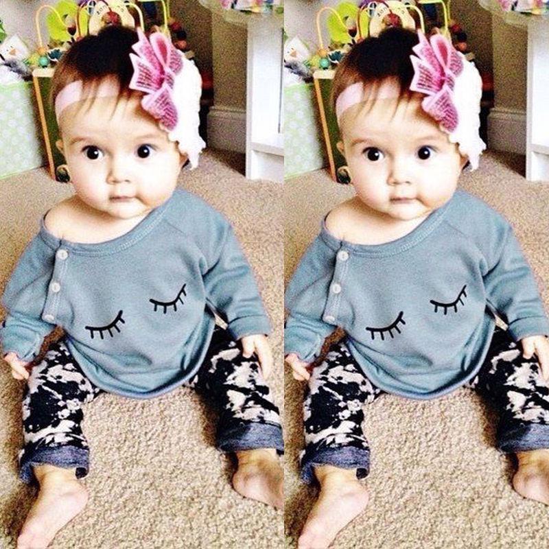 0-24 메터 신생아 유아 여자 아기 옷 귀여운 비비 긴 소매 속눈썹 티셔츠 바지 2 개 의상 아이 의류 세트